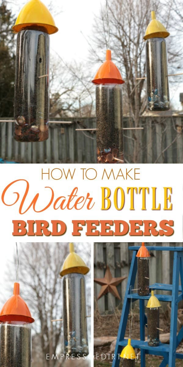 DIY water bottle bird feeders hold nijer seed for small birds including goldfinches, juncos, Indigo buntings, and more. It's a simple, frugal recyled craft. Make a bunch in one afternoon. The birds love them.