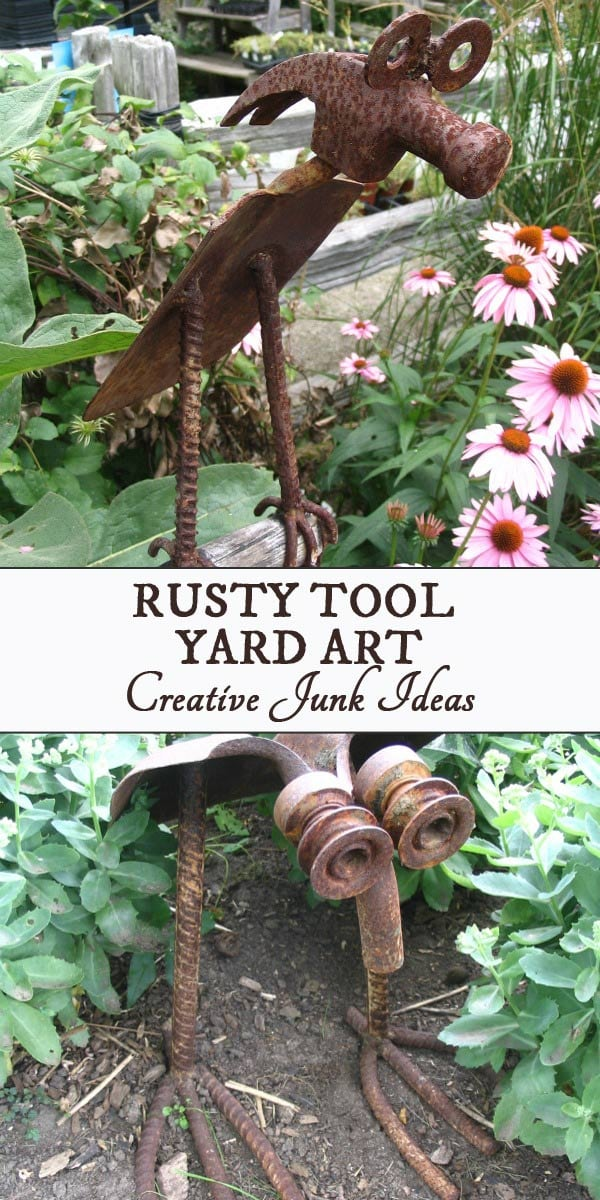 This yard art made from old tools shows many ways to turn rusty old tools into art. Look for hammers, shovels, wrenches, and hardware including metal washers, crowbars, rakes, and more.