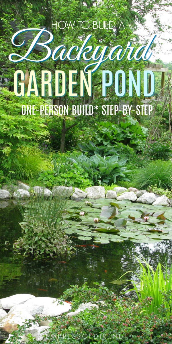 How to build a backyard garden pond showing each step including choosing the site, digging the pond, adding rocks and stones, setting up the liners, filling the pond with water, and adding aquatic plants.