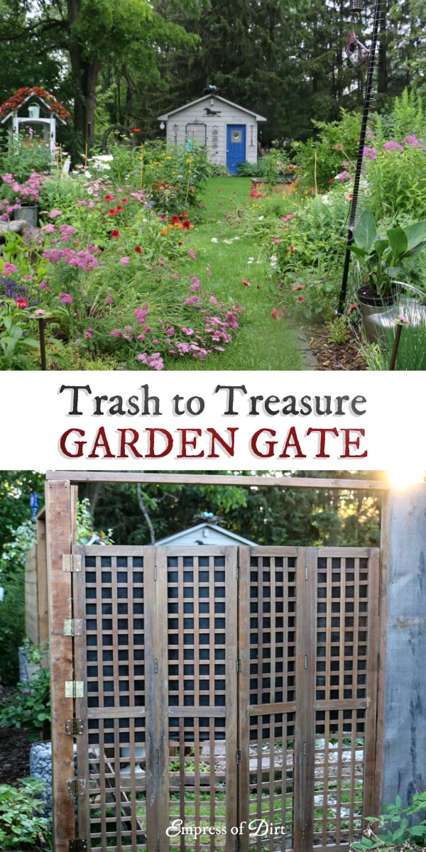 Turn an old privacy screen into a garden gate.