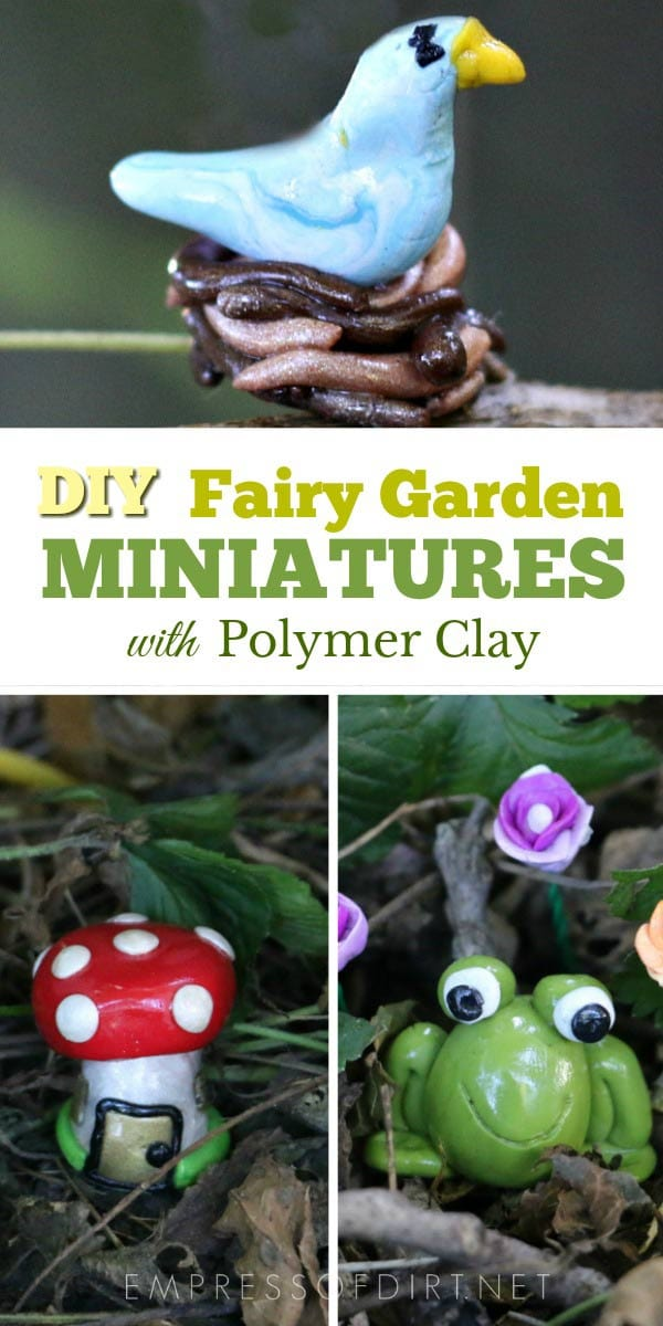 make your own miniature fairy garden charms and accessories with polymer clay - Fairy Garden Miniatures