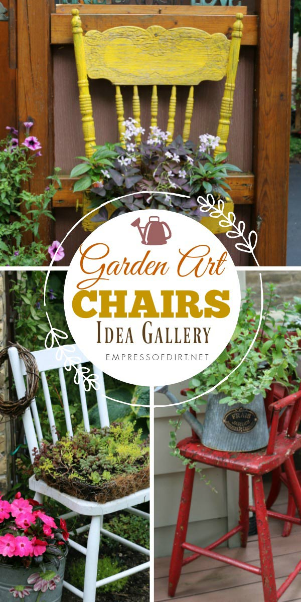 Gallery of garden art chair ideas for charming, electic decor in your outdoor space.