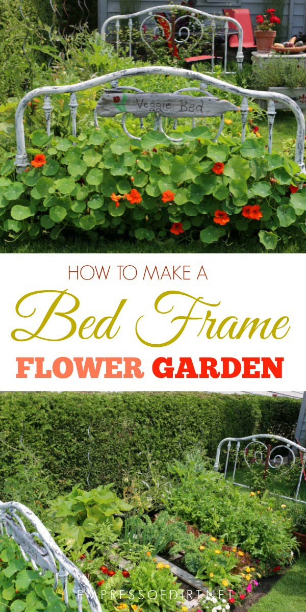 Use and old bed frame to create a flower garden bed.