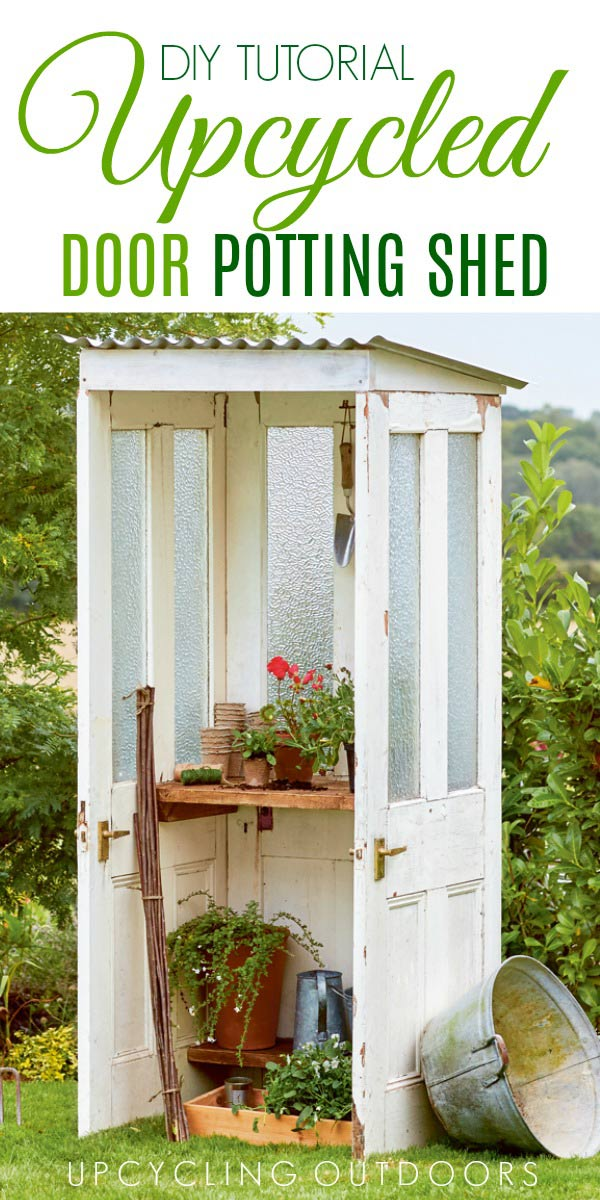 Make your own repurposed mini door shed with this tutorial from Upcycling Outdoors.