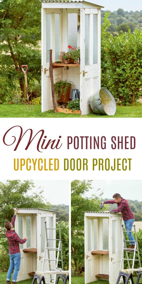 Create a mini potting shed from reclaimed materials. This project is from the book, Upcycled Outdoors.