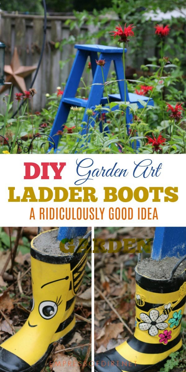 Want a way to make a wooden garden art ladder last for years? Put boots on it! With kid rain boots and a fresh coat of exterior paint, it will carry on for several years to come.