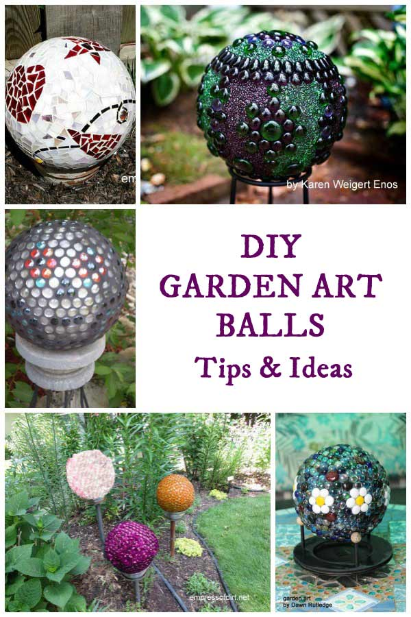 Garden art balls (spheres, globes) can be made from various repurposed items such as old bowling balls and glass lamp globes.