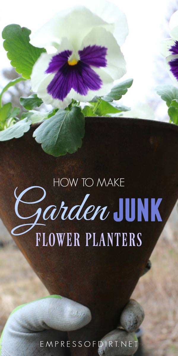 Turn old junk into wonderful garden art planters with these tips.