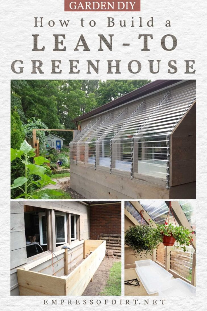 Lean-to greenhouse built on the side of a patio wall.
