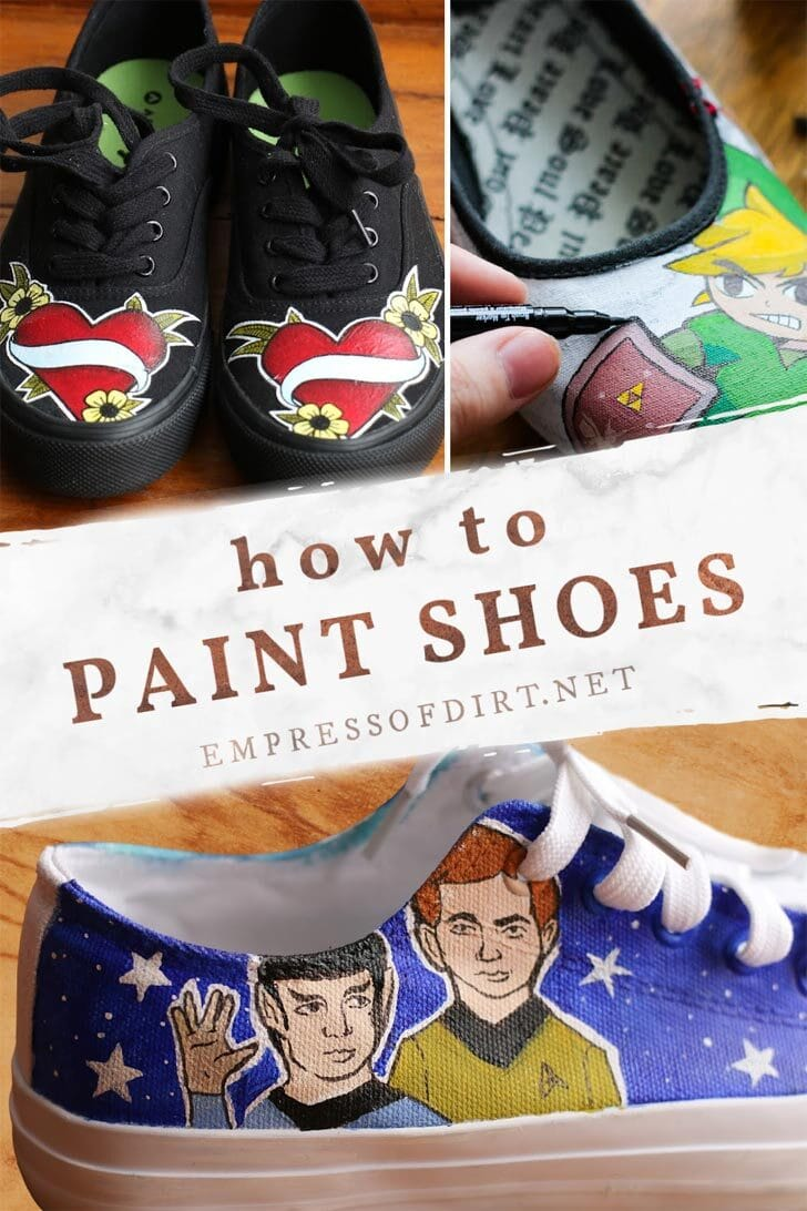 Examples of hand-painted shoes depicting creative drawings.