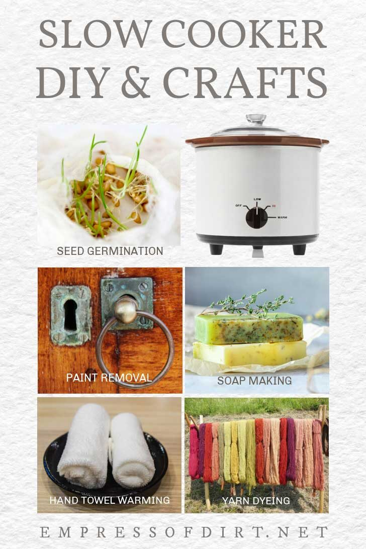 Examples of craft and DIY projects to do with slow cookers (crock pots) including soap making and seed germination.