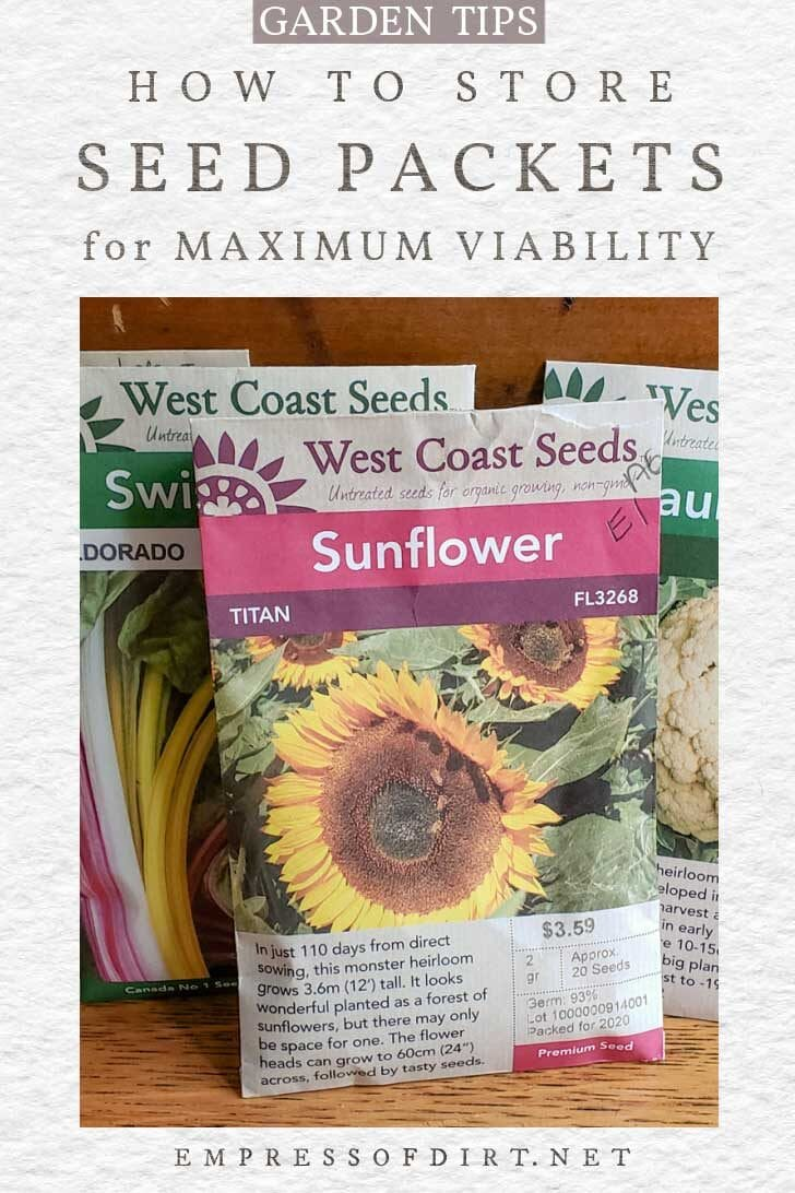 Garden seed packets including sunflower, cauliflower, and chard.