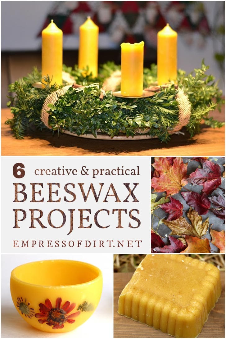 Projects made with beeswax including candles and preserved fall leaves.
