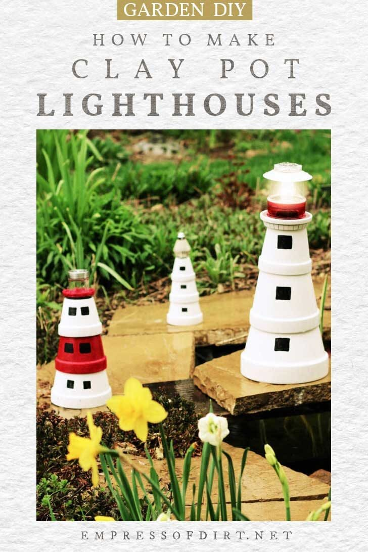 Decorative lighthouses made from clay pots.