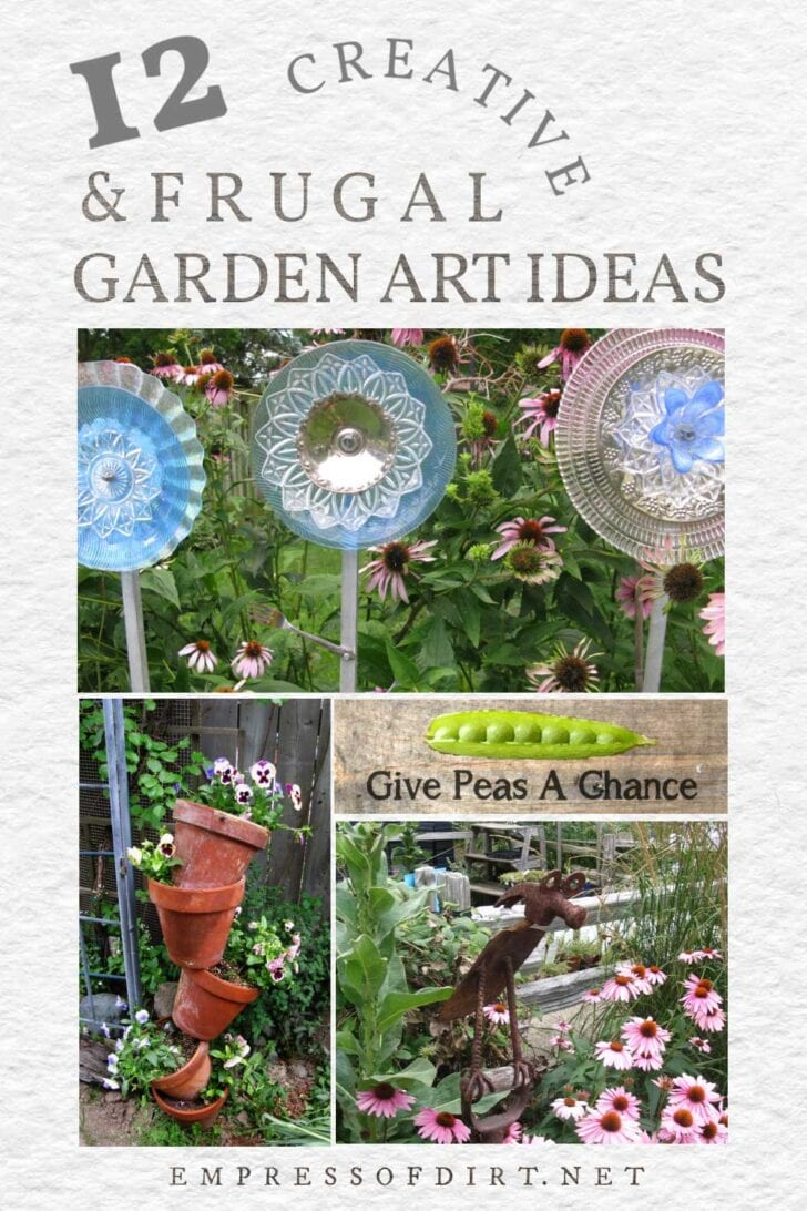 Garden art including dish flowers, tipsy pots, a funny sign, and tool animal.