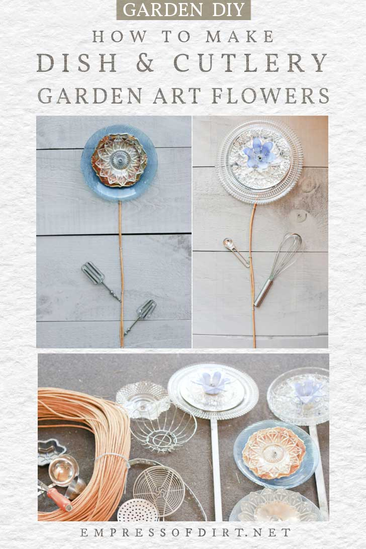 Garden art flowers made from dishes and cutlery.