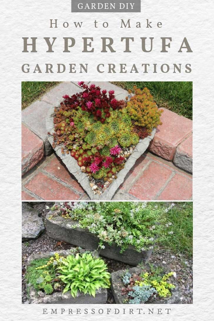 Hypertufa garden planters with succulents and flowers.
