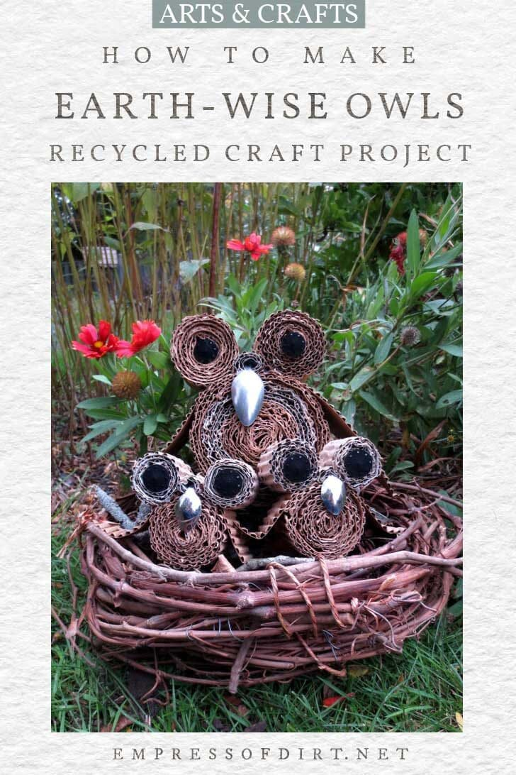 Decorative owls made from recycled cardboard.