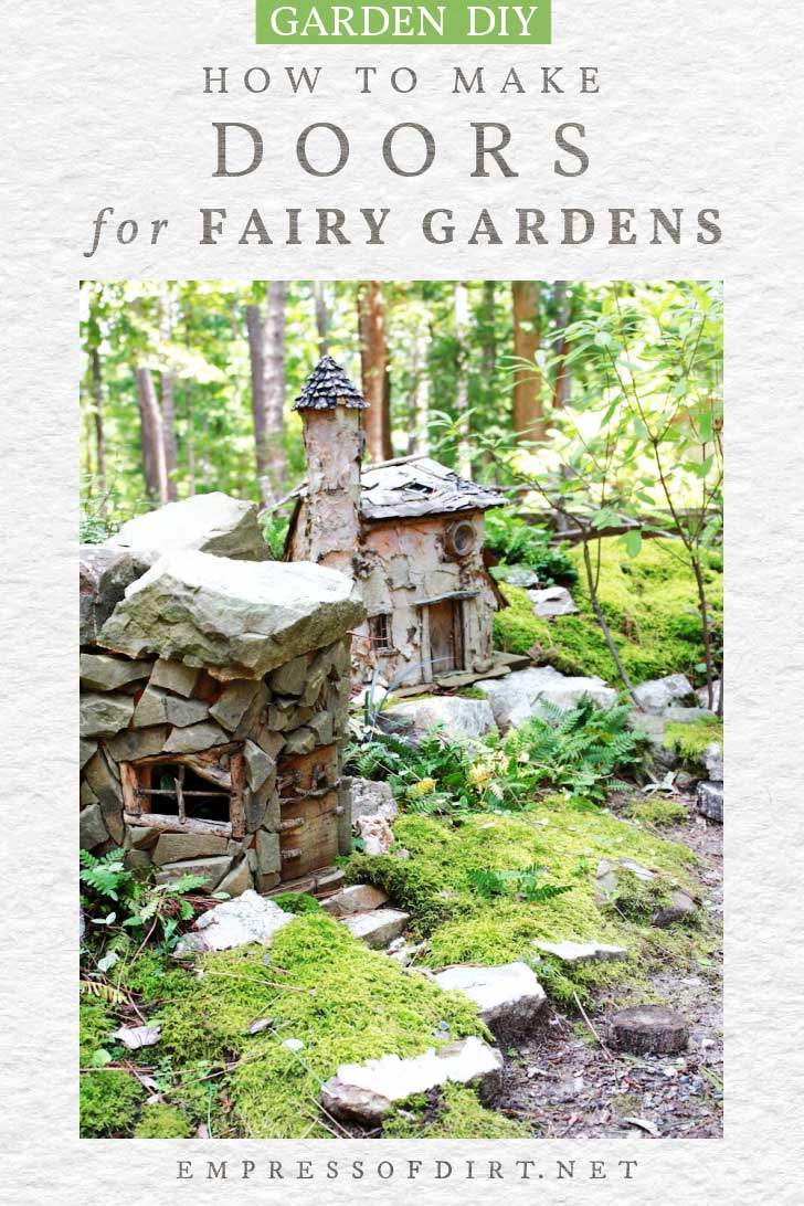 Fairy garden with stone cottage.