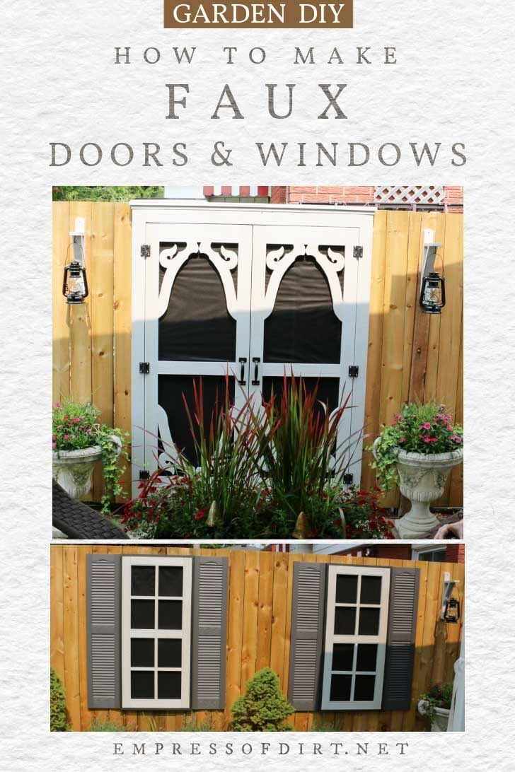 Faux doors and windows on a garden fence.