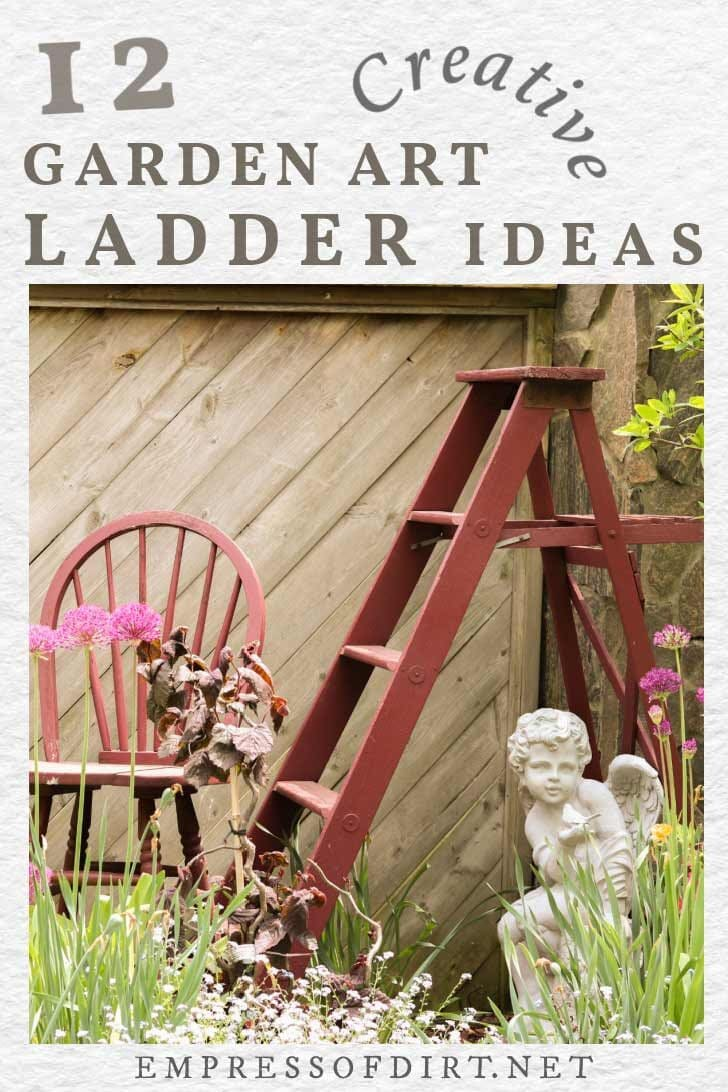 Painted ladder in the garden.