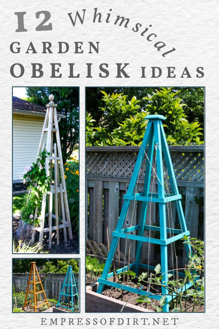 Two garden obelisks in the garden.