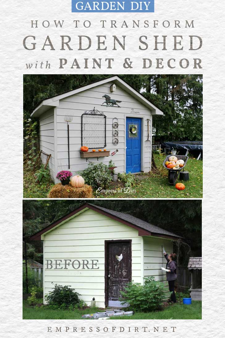 Before and after photos of a garden shed makeover.