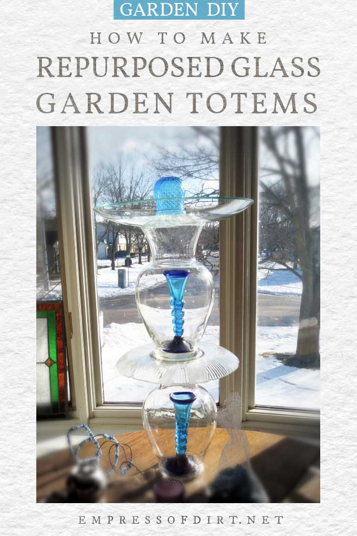 Garden totem made from glass dishes.