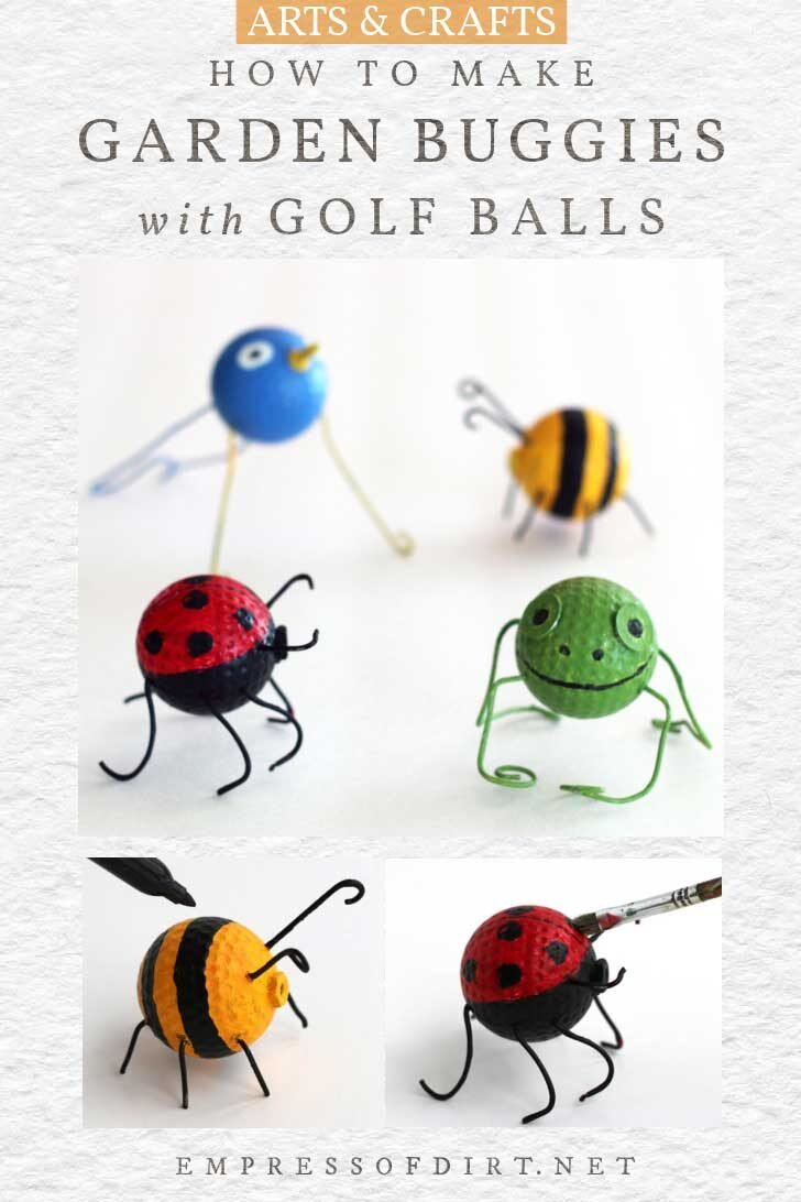 Little garden bugs made from old golf balls.