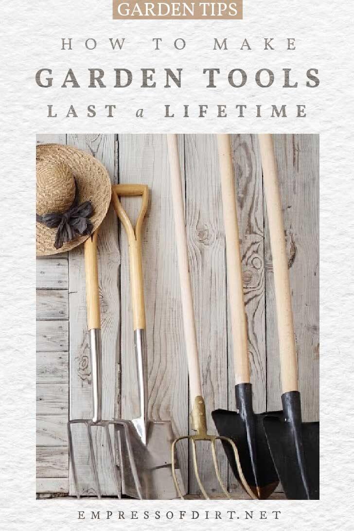 Garden tools including shovels and spades.