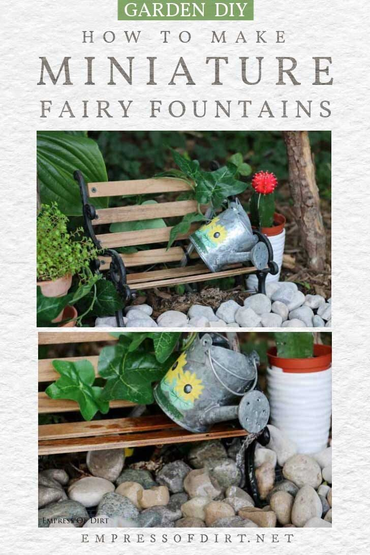 Fountain in a fairy garden made from a tiny watering can.