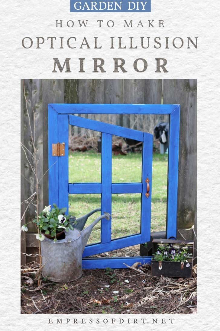 Optical illusion mirror with blue frame.