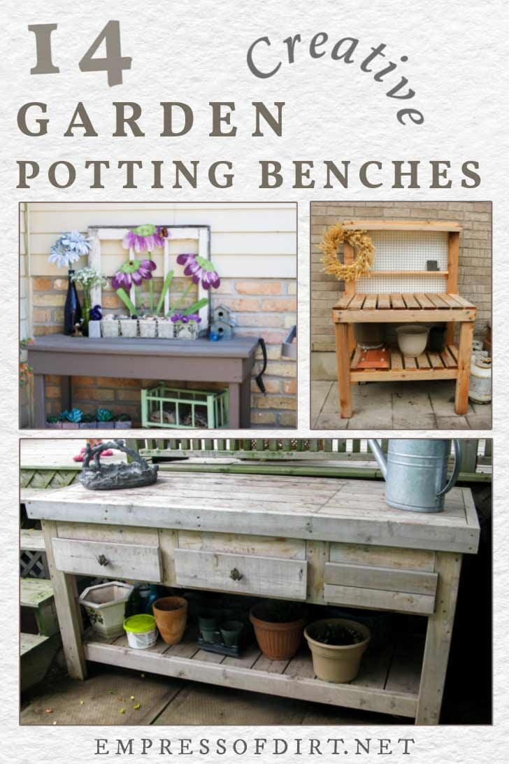 Potting benches and tables for the garden.