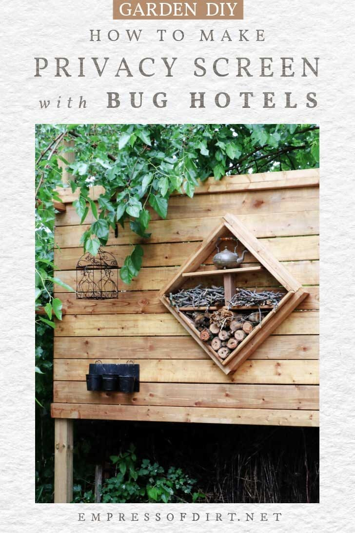 Freestanding outdoor privacy screen with bug hotel.