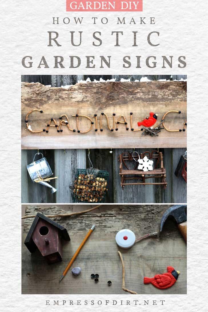 Rustic garden art sign with cardinal design.