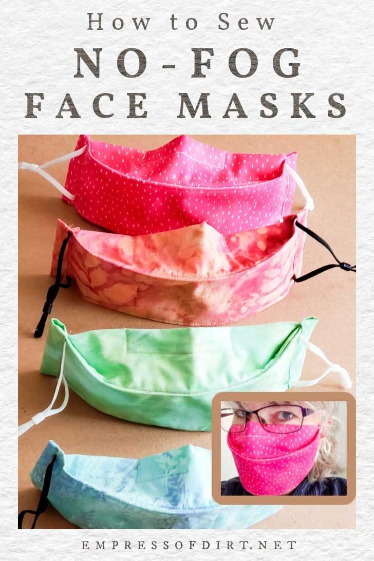 Homemade no-fog face masks in pink, peach, green, and blue.