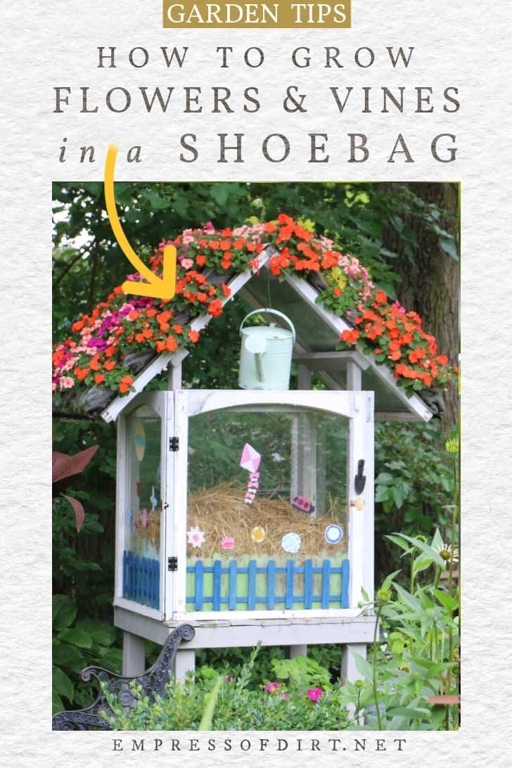 Flower roof created by planting in shoebags.