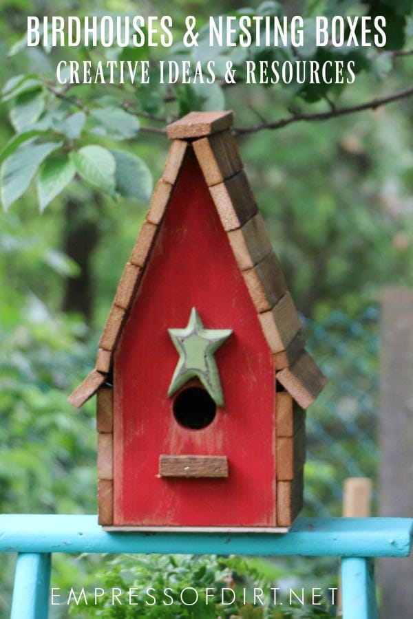 Creative birdhouse ideas for the garden including garden art ideas and nesting boxes for birds to raise their young.