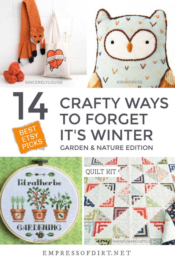 Craft kits from Etsy including a stuffed owl and embroidery kit.