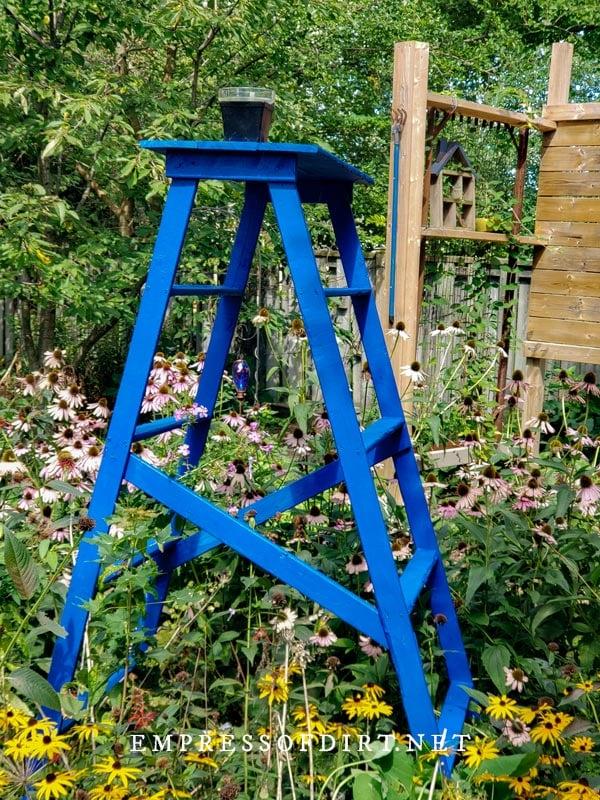 Homemade garden ladder in backyard with flowering perennials.