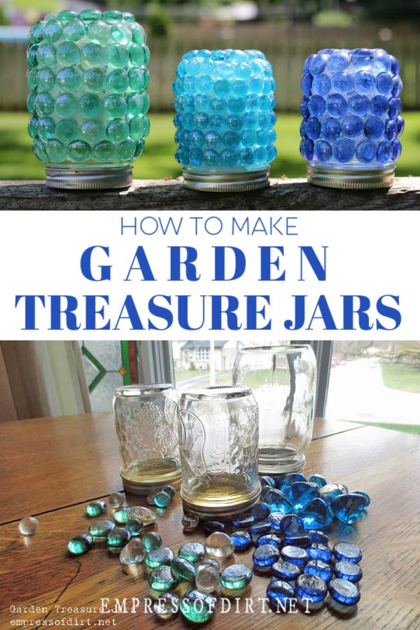 Mason jars covered in blue glass gems.