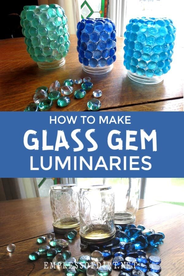 Glass luminaries made from jars.