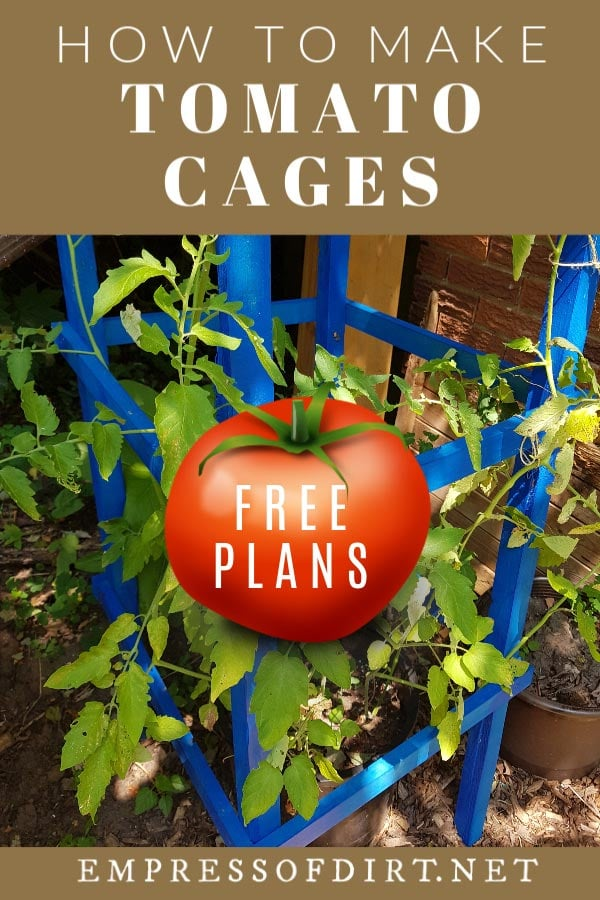 Wooden tomato cage with plants.