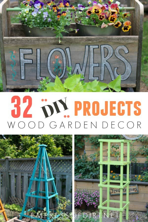 Creative and useful wood projects you can make for your garden including planters, trugs, arbors, raised beds, screen door, birdhouses, benches, tables, and more!
