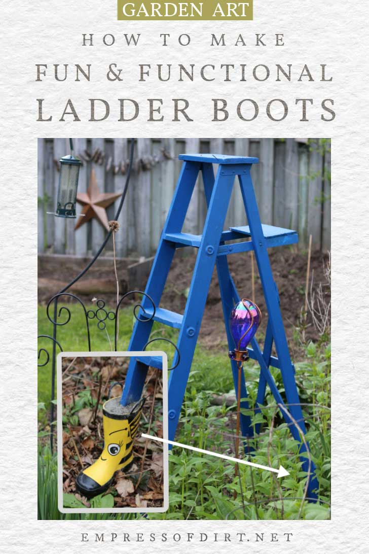 Blue garden art ladder with yellow boots used to protect the lower legs.