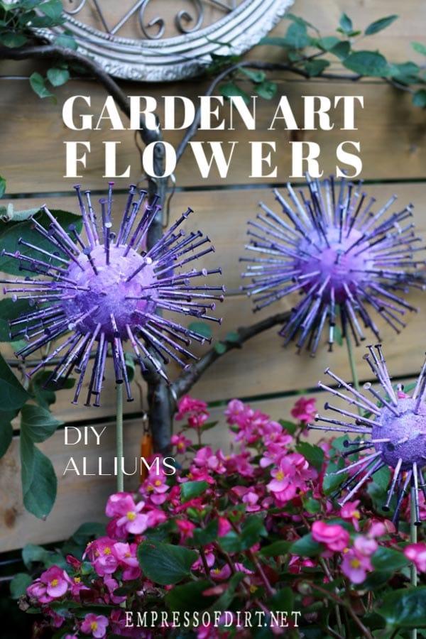 Homemade garden art allium flowers.
