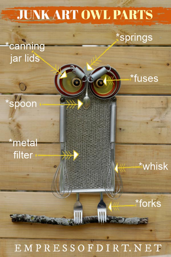 Diagram of garden junk owl parts.
