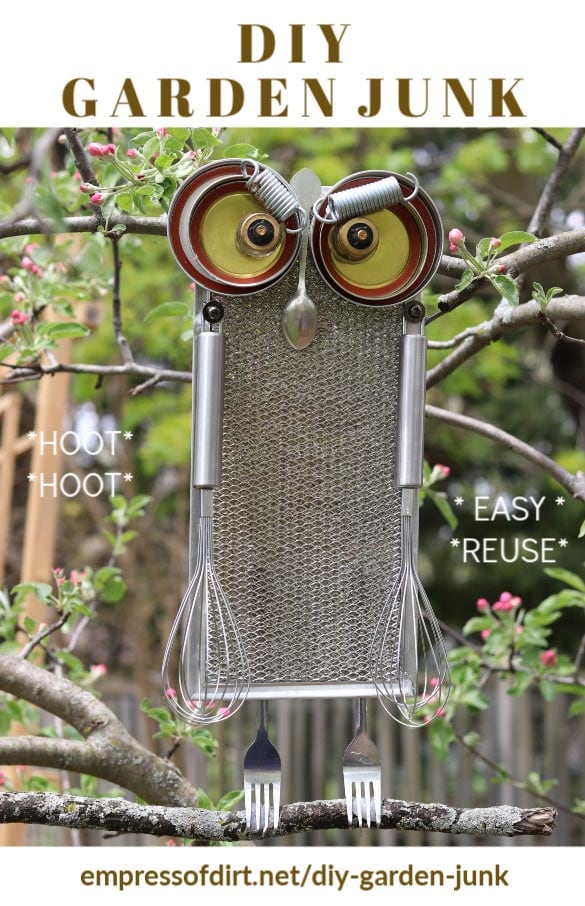 Garden junk owl made from old kitchen stuff.