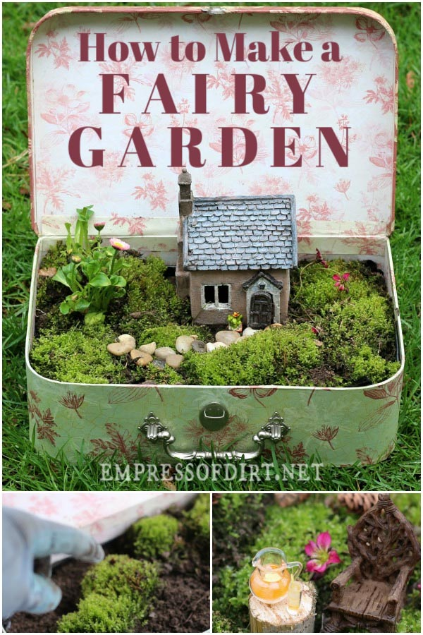 Fairy garden in a vintage suitcase.