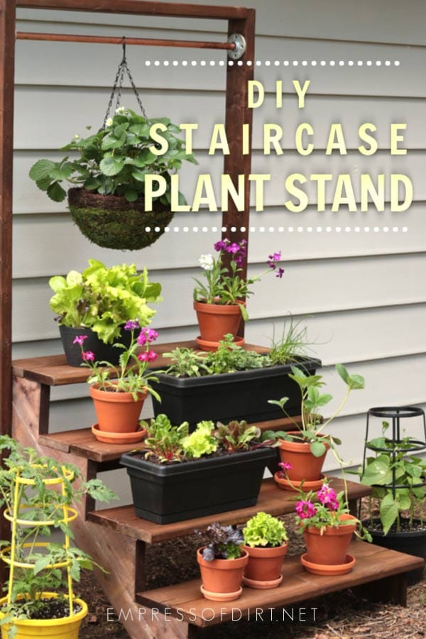 Make a staircase plant stand for displaying potted garden plants.